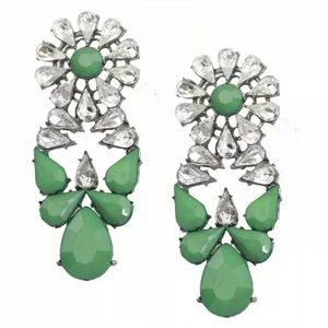Green Jewel Drop Earrings